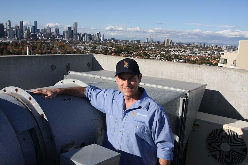 Wayne installing a rooftop packaged unitRooftop